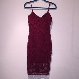 Burgundy Guess lace bodycon dress